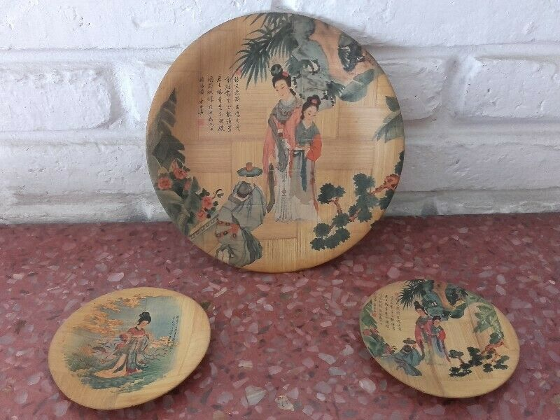 3 Platos Decorativos de Bambú. Made in Taiwan