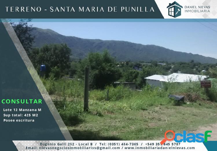 TERRENO EN EXCELENTE UBICACION SANTA MARIA DE PUNILLA