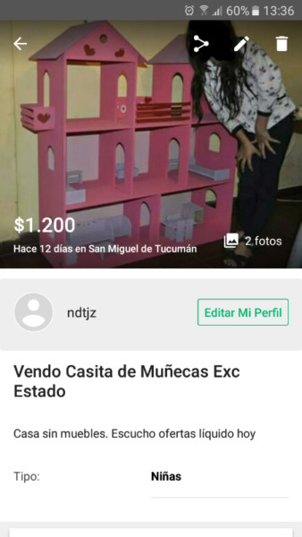 Vendo casa de muñecas sin muebles. Etc estado