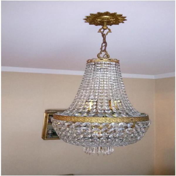 Araña de bronce y cristal