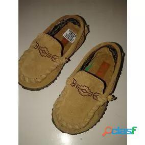 Zapato Nautico Mocasin Keek 19 nuevo CUERO GAMUSA BEIGE