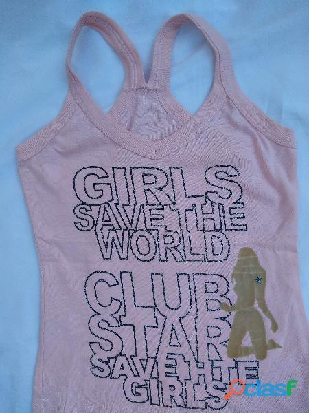 remera sin manga rosa con brillos letras girls nueva