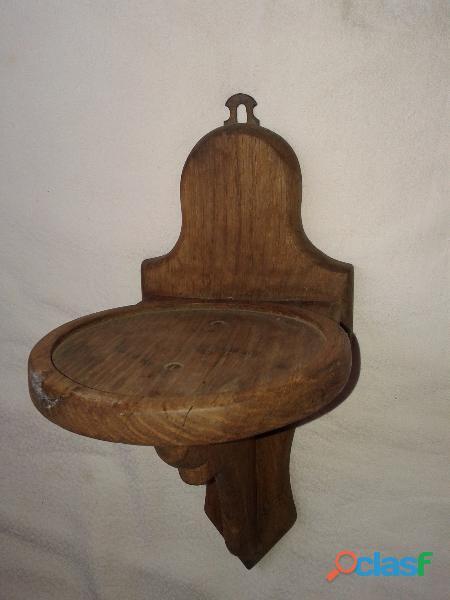Repisa Antigua Roble Con Soporte En Bronce