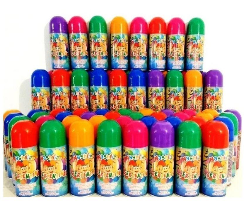 serpentinas en aerosol de cotillón x24 nashville de colores