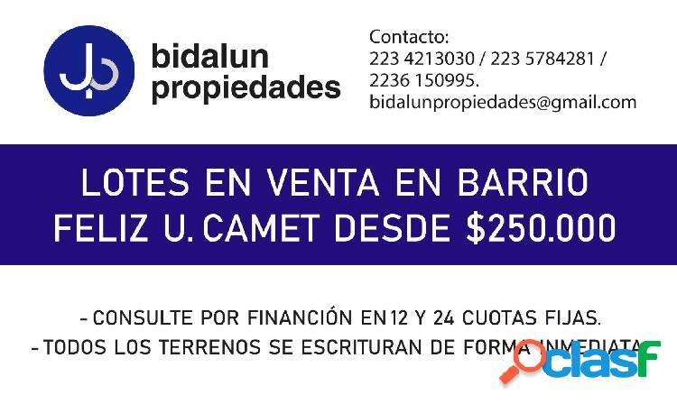 VENDO LOTES EN CAMET DESDE $250.000 - ESCRITURACION
