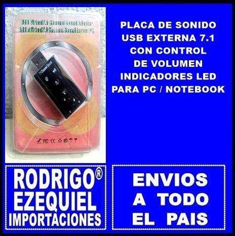 PLACA DE SONIDO USB EXTERNA 7.1 CON CONTROL DE VOLUMEN