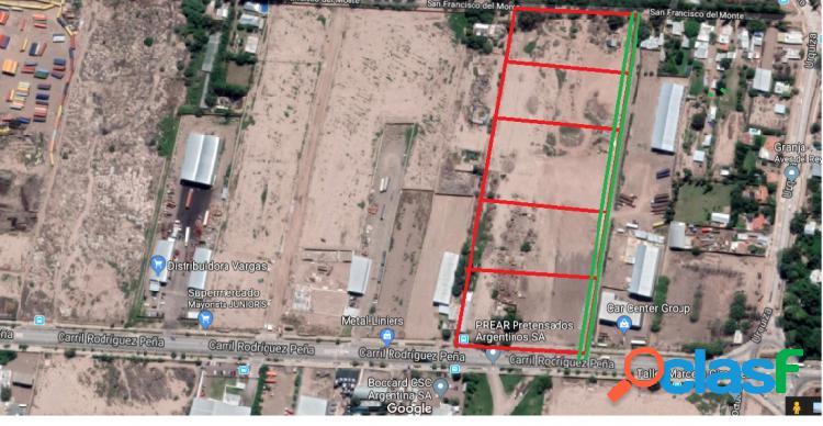 Lotes de 2000m2 sobre Zona Industrial Rodriguez Peña,