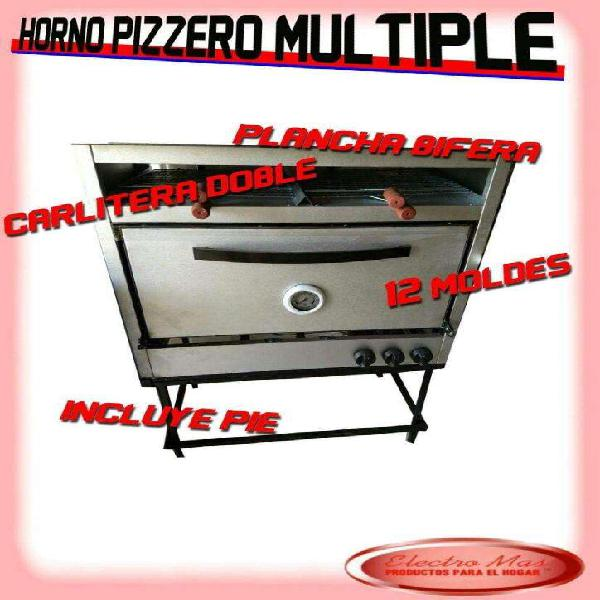 Horno Pizzero 6 Moldes con Plancha Y Car