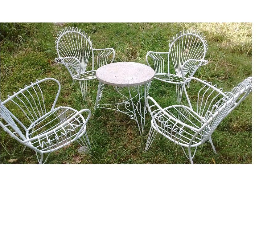 Juego de jardín HIERRO mesa y 4 sillones