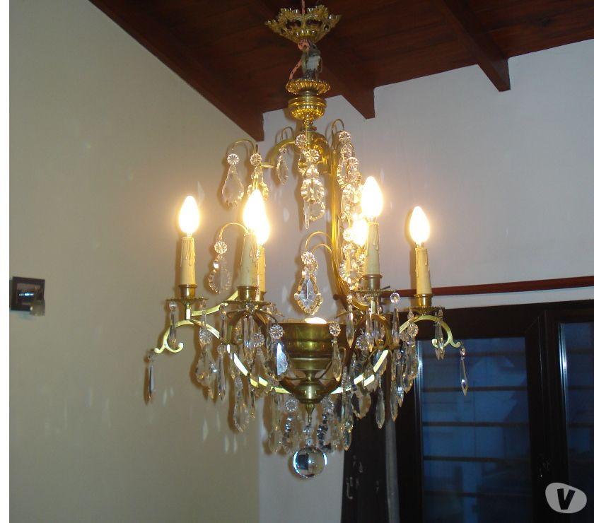 lampara antigua de bronce y caireles