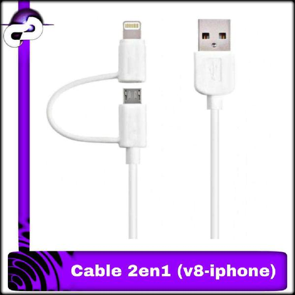 CABLE USB UNIVERSAL 2 EN 1 PARA IPHONE Y ANDROID