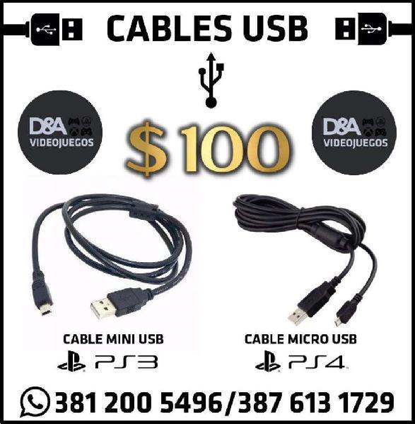 Cables USB p/PS3 PS4 o Celulares