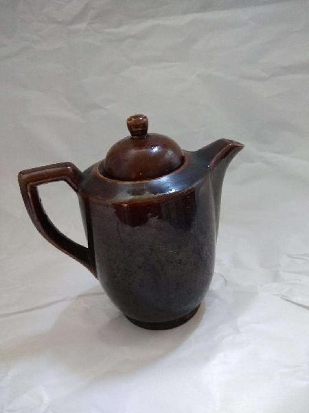Cafetera Ceramica Marron Oscuro Brillante antigua