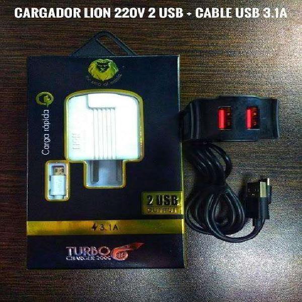 Cargador Rápido Lion Turbo Carga 3.1A