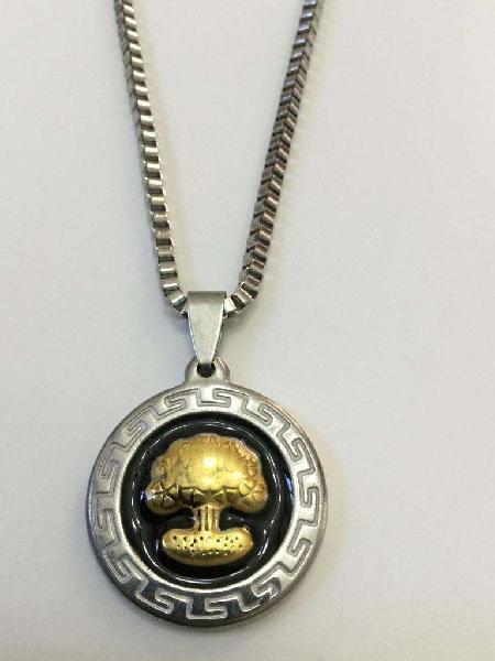 Arbol De La Vida, Medalla Y Cadena En Acero Quirúrgico