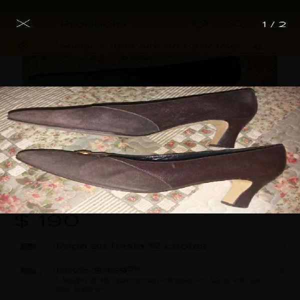 Hermosos Zapatos de Cuero Y Gamuza