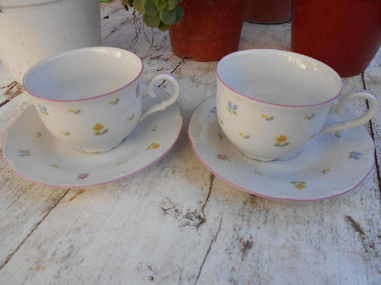 Dos pocillos de café con plato porcelana checoslovaca MZ