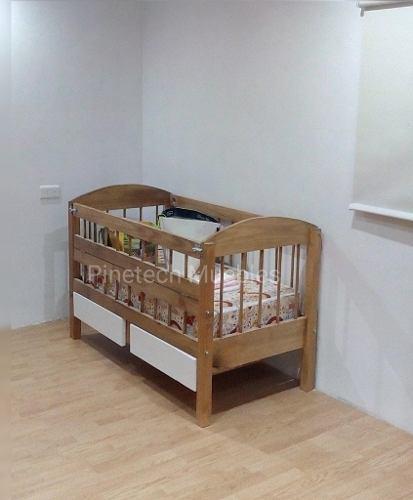 Cuna Con Cajones Madera Y Blanco Pinetech Muebles