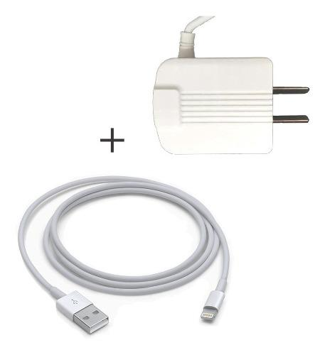 Cargador Pared 2 Puertos Usb + Cable Lightning iPhone Blanco