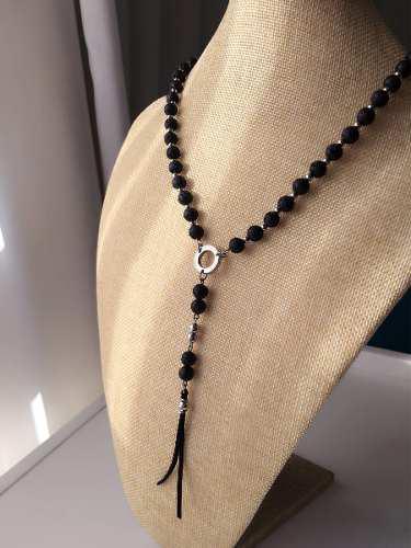 Collar-rosario De Hombre Deluxe Piedra Volcánica Y Acero