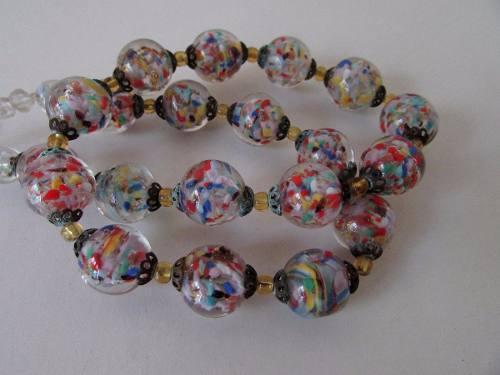 Antiguo Collar Cristal Checoslovaco O Murano Multicolor