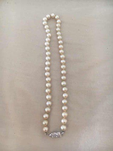 Antiguo Collar De Perlas Con Broche 36 Cm