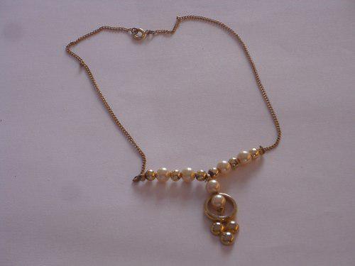 Antiguo Collar Gargantilla Metal Dorado Perlas Fant.