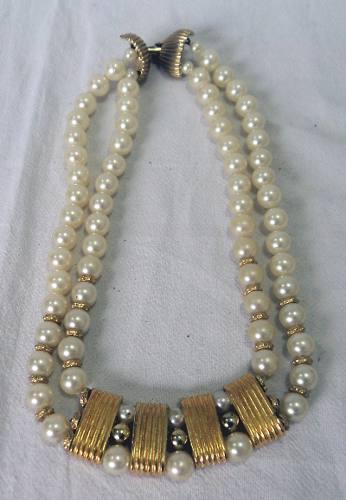 Antiguo Collar Retro Vintage De Perlas Fantasia Gargantilla