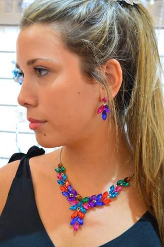 Conjunto Collar Y Aros Cristal F/hoja Multicolor
