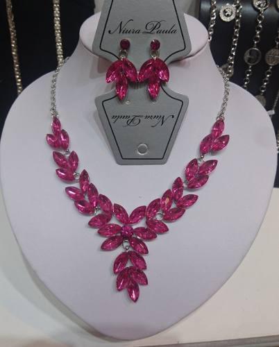 Conjunto Collar Y Aros Cristal F/hoja Rosadas