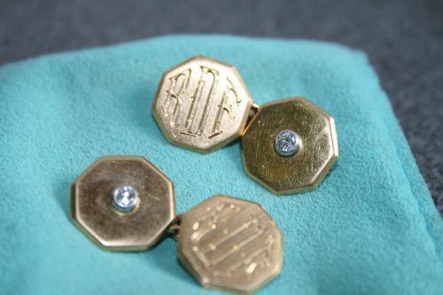Gemelos Antiguos Oro Y Brillantes Grabados -11 Grs.