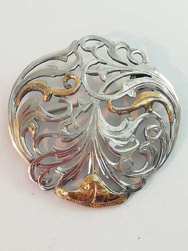 Prendedor Antiguo De Plata Y Oro Sellado 925