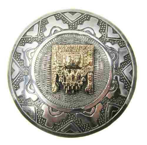 Prendedor Pendant Antiguo De Plata 925 Con Oro 18kt.