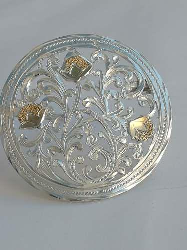 Prendedor Plata Y Oro Antiguo Sellado