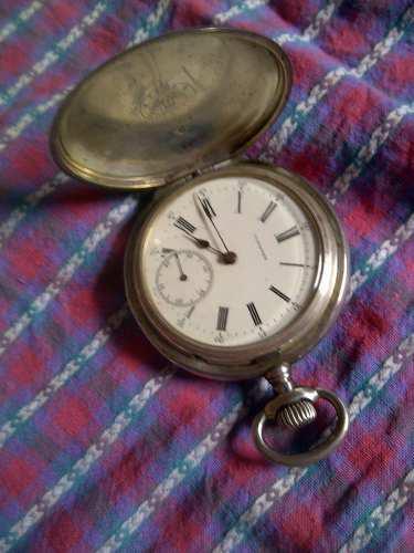 Antiguo Reloj De Bolsillo De Plata Longines Grand Prix Paris
