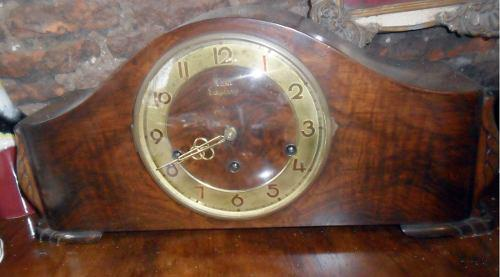 Antiguo Reloj De Mesa Carrillon Casa Escasany Caoba Original