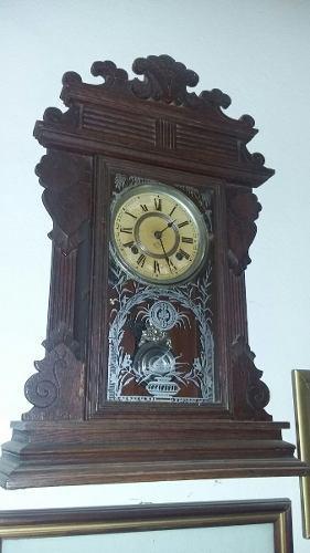 Antiguo Reloj De Pared O Sobre Mesa Ansonia Con Pendulo