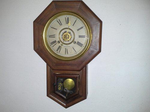 Antiguo Reloj De Pared Waterbury Clock Co Usa Despertador