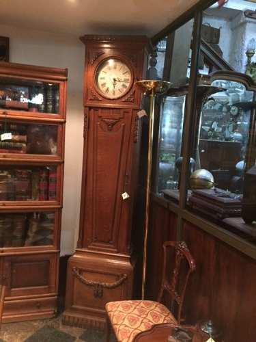 Antiguo Reloj De Pie Carrillon Madera Tallada Impecable