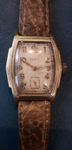 Antiguo Reloj Elgin De Los 40' Oro Plaque Art Deco Funciona