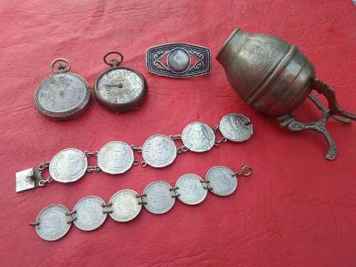 Lote Antiguo Mate,reloj,monedas,hebilla