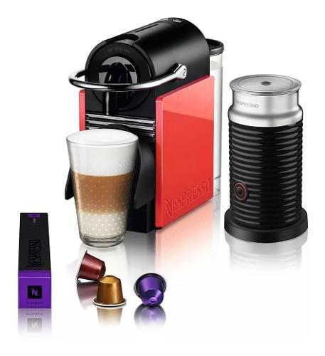 Cafetera Nespresso Pixie Clips Blanca Con Rojo + Aeroccino