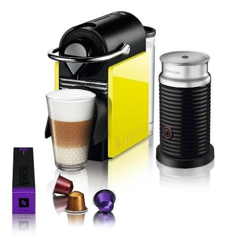 Cafetera Nespresso Pixie Clips Negra Con Amarillo + Aerocci