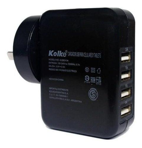 Cargador Usb Multiple Kolke Zapatilla 4 Usb 220v 3a Celular