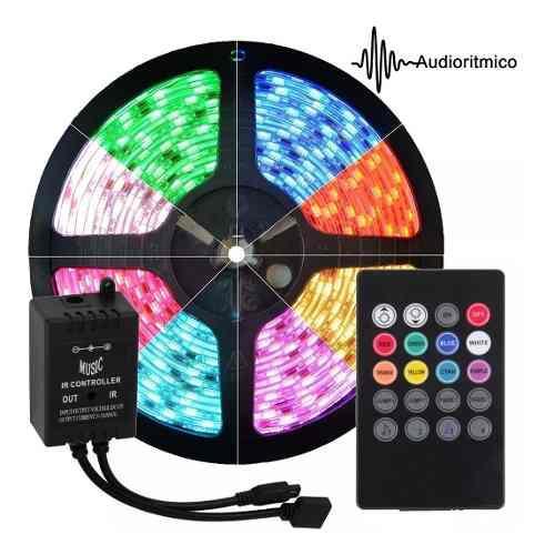 Tira Led Rgb 5050 Con Controladora Audio Rítmica Sonido