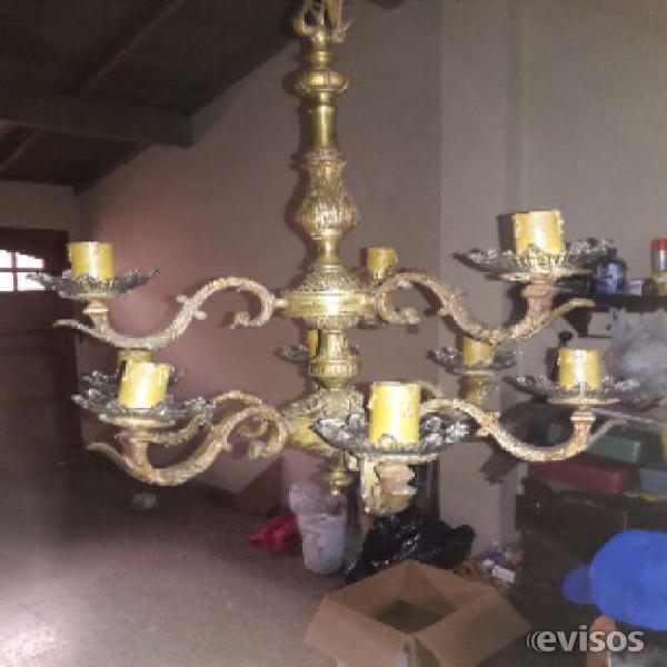 Araña 9 luces de bronce en Lomas de Zamora