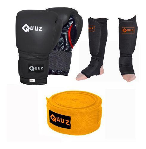 Kit Guantes 12 Oz Quuz + Par De Vendas 3 Mts + Tibial Media