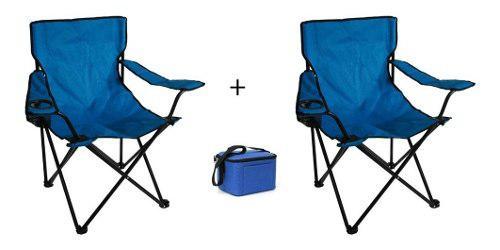 2 Sillas Plegables De Camping Playa + Térmico De Regalo!