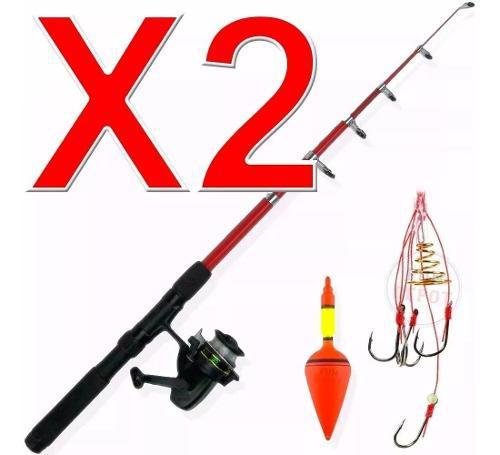 Caña De Pescar Set De Pesca Boyas+anzuelos+reel+tanza X 2