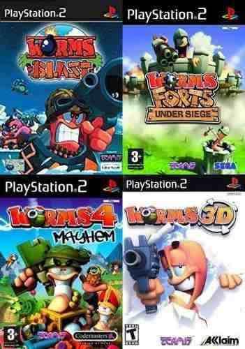 Worms Collection Juego Para Playstation 2 (4 Discos)